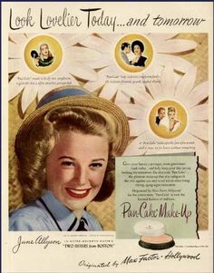 JUNE ALLYSON IN 1946 MAX FACTOR PAN-CAKE MAKE-UP AD ....Uploaded By www.1stand2ndtimearound.etsy.com