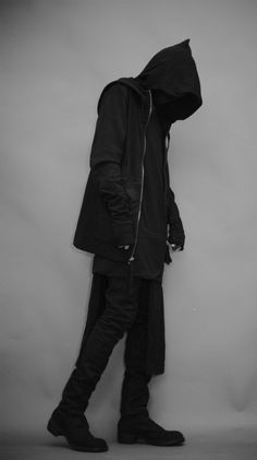 Dark ninja urban warrior black hooded garment