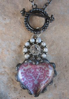 Soldered Glass Heart with Rhinestone and Pearl connector! www.nanettemc.etsy.com
