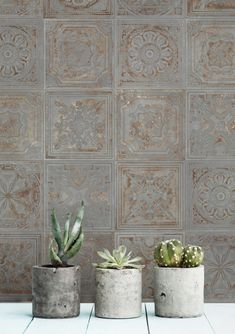 New from one of our favorite Spanish companies! Gatsby replicates historical tin ceiling tiles in ceramic allowing incredible versatility. Gatsby, Mosaic Tiles, Wall Tiles, Ceiling Tiles, Backsplash Tile, Tiling, Feature Tiles, Distressed Painting, Fireplace Surrounds