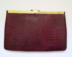 Etra Genuine Leather Clutch Purse Burgundy Snakeskin Reptile Chain Strap - pinned by pin4etsy.com