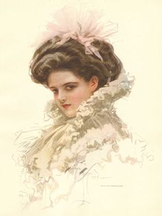 """DEPICTING: Harrison Fisher, Pretty Lady, White Ruffles, Pink Ribbon. TITLE: untitled by Harrison Fisher. FROM: American Beauties, Gosset & Dunlap, 1909, New York. PAGE SIZE: Approx. 8 1/4"""" x 10 3/4"""". 