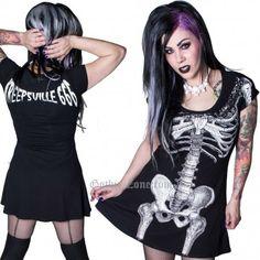Vestido mujer negro Esqueleto blanco