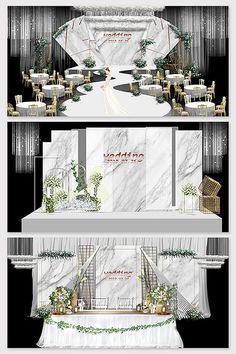 Modern minimalist Mori white wedding effect picture Wedding Scene, Wedding Decor, Wedding Stage Design, Red And White Weddings, Alice In Wonderland Theme, Photo Boards, 3d Models, Modern Minimalist, Table Decorations