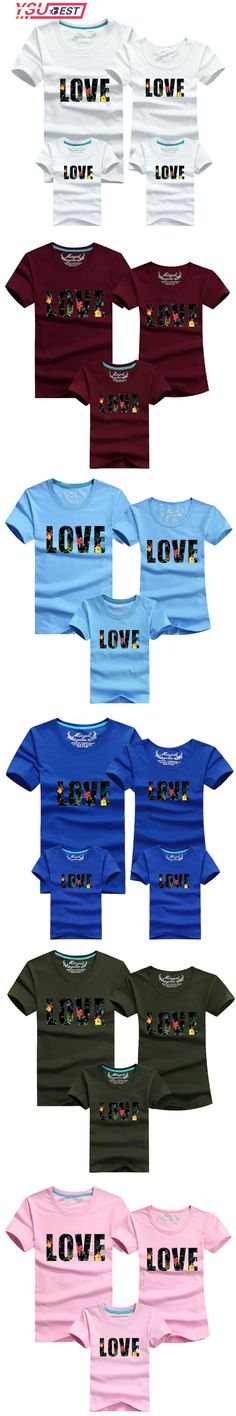 Family Look Cotton Love T-Shirt Family Matching Clothes Set T Shirts 2018 Matching Family Clothing Men Women Kids Large T-Shirts