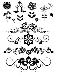 SVG Flowers Floral Divider Lines Ornamental Swirls by TuiTrading