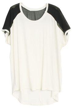 Contrast Shoulder White T-shirt#Romwe