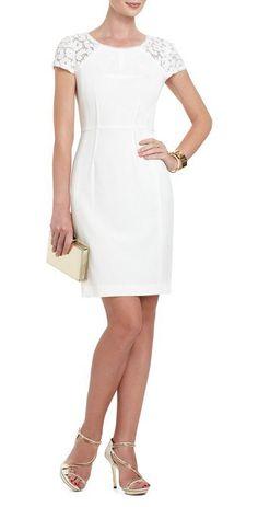 $175.00 BCBG CHARLIZE SEQUIN-SHOULDER COCKTAIL DRESS WHITE
