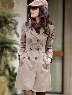 Quality Double Breasted Polyester Solid Color Notch Collar Sash Long Sleeves Trench Coat - Milanoo.com