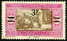 Senegal 1927 Scott 135 3fr on 5fr magenta & olive brown