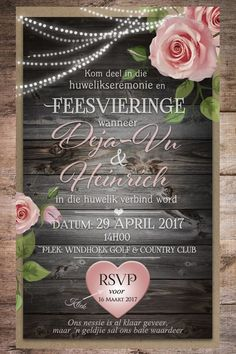 Afrikaanse E-pos Uitnodigings - E-Invites die Tuiste van E-pos Uitnodigings E Invite, Wedding Invitation Wording, Wedding Stationary, Invitation Ideas, Electronic Invitations, Pure Romance, Diy Home Crafts, 50th Birthday, Save The Date