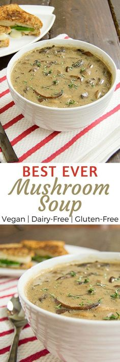 The best ever mushroom soup recipe. Mushroom lovers, this soup is hearty and earthy full of mushrooms. Vegan, fat free, dairy free, gluten f… Dairy Free Recipes, Whole Food Recipes, Vegetarian Recipes, Cooking Recipes, Healthy Recipes, Soy Flour Recipes, Gluten Free Soup, Best Vegan Recipes, Cooking Food