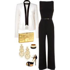 Black & White Chic - Black and white with gold accent accessories White Jacket Outfit, Black Jumpsuit Outfit, Jumpsuit Dressy, Palazzo Jumpsuit, Black Romper, White Chic, Black White, White Fashion, Fall Fashion