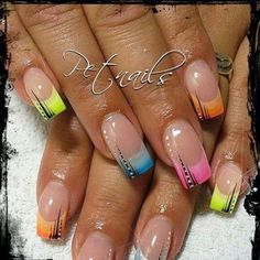Nailart Französisch Sommer – gel nägel ideen, You can collect images you discovered organize them, add your own ideas to your collections and share with other people. French Tip Nail Designs, French Nail Art, French Tip Nails, Nailart French, French Gel, Cute Nails, Pretty Nails, My Nails, Glam Nails