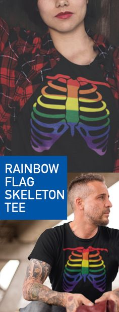 Halloween Skeleton Rainbow Flag Gay, LGBT, LGBTQ, Trans, bisexual T-Shirt costume idea. Perfect for couples who want to dress up together in style. Makes a great addition to halloween mask ideas and ay outfit. Get yours today!