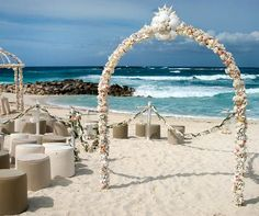 An arch covered in seashells marks the beginning of a curved aisle, mere feet from the crashing waves.