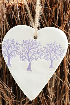 Purple Heart ornament, gift for nature lover, hanging heart wall decoration by…