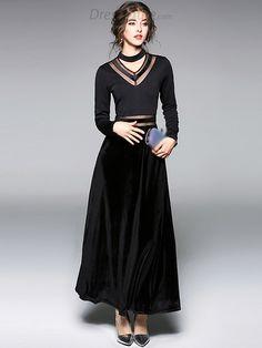 5c82dc6abc1af Velour Stitching V-Neck Long Sleeve Black Maxi Dress - DressSure.com Black  Maxi