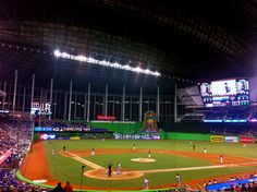 Catch at Miami Marlins game at their new ballpark