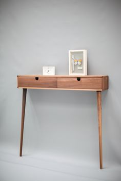 Walnut wood Floating / with 2 legs Console by Habitables