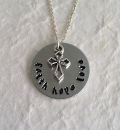 Hand Stamped Aluminum Necklace faith hope love with by kimgilbert3, $16.00