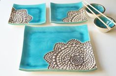 Sushi Serving Plates Set for 2 Turquoise Sushi Set Ceramic
