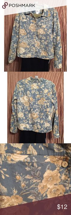 """Coldwater Creek Jacket Floral M (10 - 12) EUC Coldwater Creek Floral Jacket Size M (10 - 12) EUC. (""""denim look"""")  Colors: gray cream and tan.  Measurements:  Bust 22"""" (armpit to armpit), Sleeves 24"""" (shoulder seam down), Length 23"""" (bottom of back collar down).  From a pet-free / smoke-free home.  To ensure a good fit, please measure a favorite blouse and check your measurements against item info. Coldwater Creek Jackets & Coats Blazers"""