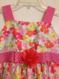 Youngland girls dress size 6x pink red white green sleeveless flowers sequins  #Youngland #ChurchDressyEverydayHolidayPageantWedding