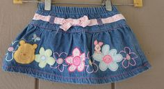 Girls Winnie the Pooh Blue Jeans Skirt with appliques and built in panty EUC - Jean Skirts - Ideas of Jean Skirts Toddler Fashion, Fashion Kids, Unique Baby Boy Clothes, Baby Boy Outfits, Kids Outfits, Bow Jeans, Baby Girl Items, Skirts For Kids, Cute Skirts