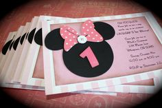 MINNIE Mouse Invitation by kutekardz on Etsy, $5.75