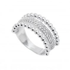 18K White Gold Plated and CZ Half Face Stone Ring