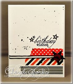 Stars, stripes, washi, and dots for masculine card by She Stamps Cheryl