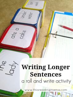 Writing Sentences: A Roll and Write Activity ~ get kids learning about sentence structure and writing longer sentences with this interactive writing activity This Reading Mama Kindergarten Writing, Teaching Writing, Fun Writing Activities, Therapy Activities, Writing Lessons, Writing Skills, Writing Process, Writing Ideas, Creative Writing