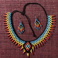 Items similar to Embera Diamond Choker and Earring Combo// Beads // Choker on Etsy Beaded Necklace Patterns, Beaded Choker, Diamond Choker, Diamond Pendant Necklace, Handmade Beads, Handmade Jewelry, Bead Loom Bracelets, Seed Bead Necklace, Photo Jewelry