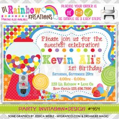 464 DIY Cute Candy Shop 2 Party Invitation Or by LilRbwKreations