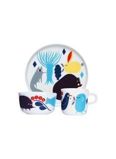 Oiva/Huhuli -lasten astiasto (valkoinen, turkoosi, musta)  Sisustustuotteet, Lastenhuone   Marimekko