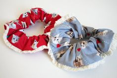 Kawaii Meow meow Hair Scrunchie with Cotton Crochet Lace on Etsy, $10.91