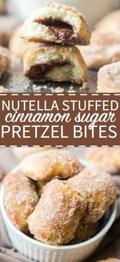 Soft and delicious, these cinnamon sugar pretzel bites are stuffed with nutella and are the perfect snack or dessert recipe for parties. Nutella Snacks, Nutella Recipes, Nutella Deserts, Nutella Cupcakes, Baking Recipes, Dessert Recipes, Dessert Ideas, Yummy Recipes, Cinnamon Sugar Pretzels