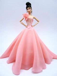 Silkstone Barbie Fashion Royalty Candi Evening Dress Outfit Gown Peach Clothes