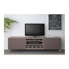 "BESTÅ TV unit with drawers - walnut effect light gray/Valviken dark brown, drawer runner, soft-closing, 70 7/8x15 3/4x18 7/8 "" - IKEA"