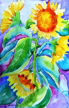 Sunflower Season - Original Art - Watercolour painting on Cotman watercolour paper. * Size 10 x 7.5 inches   unframed  At the end of Summer in Ireland
