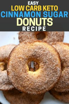 One of the BEST low carb KETO recipes for beginners! These easy Keto Cinnamon Sugar Donuts are the perfect keto breakfast idea, snack idea, or dessert idea! Keto Desserts, Keto Snacks, Low Carb Keto, Low Carb Recipes, Low Carb Donut, Healthy Recipes, Donuts Keto, Keto Bagels, Protein Donuts