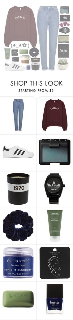 """""""FACE REVEAL (RTD)"""" by frizzypop ❤ liked on Polyvore featuring Topshop, adidas Originals, NARS Cosmetics, H&M, Bella Freud, adidas, Aveda, Sara Happ, Borghese and Butter London"""