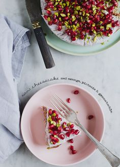 Raw pomegranate, berry and pistachio cheesecake. #vegan #raw
