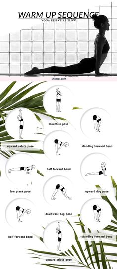 Awaken the body and prepare for a workout with this yoga warm up flow. Repeat this flow for 5 rounds, give yourself time to ease into the asanas and, with each exhale, move deeper into the poses. Yoga Pilates, Sup Yoga, Yoga Moves, Ashtanga Yoga, Yoga Exercises, Stomach Exercises, Workout Exercises, Qi Gong, Yoga Warm Up
