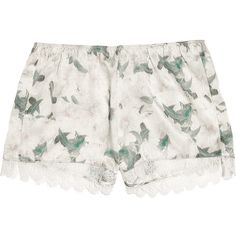 Erdem Catrina floral-print silk-satin shorts ($150) ❤ liked on Polyvore featuring shorts, bottoms, pants, lingerie, cream, lace trim shorts, erdem, colorful shorts, flower print shorts and floral shorts