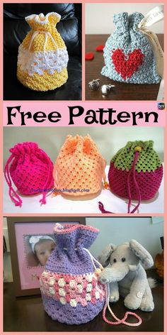 If you are planning a birthday present, and want some king of pretty and decorative Goody Bag, then this Round Base Crocheted Goody Bag is for you. Free Crochet Bag, Crochet Pouch, Crochet Stitches, Knit Crochet, Crochet Patterns, Crochet Hats, Drawstring Bag Pattern, Crochet Baby Cardigan, Goody Bags