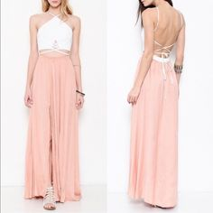 SAHARA Criss cross back tie dress - ALMOND Gorgeous maxi dress with y neckline. Criss cross front & back with back tie. Sexy side slit. Oh so sexy! Feel like a complete goddess rocking this stunner. Available ONLY in almond (peach color). NO TRADE, PRICE FIRM Bellanblue Dresses Maxi