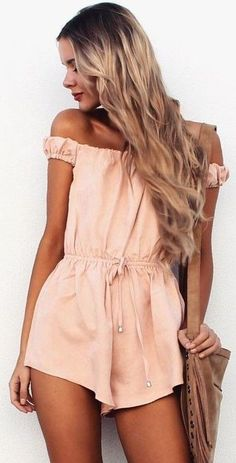 #summer #musthave #outfits | Peachy Off The Shoulder Romper