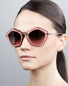 Pentagon Sunglasses, Brown/Pink by Miu Miu at Bergdorf Goodman.